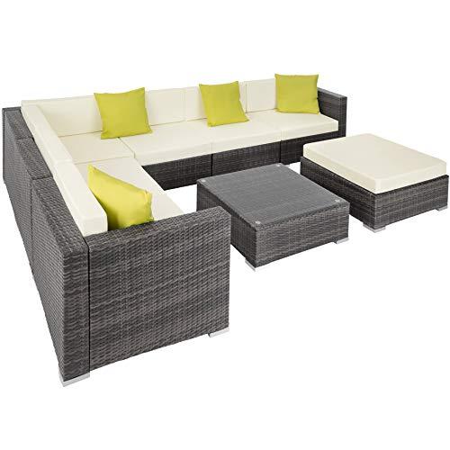 TecTake 403083 Hochwertige Aluminium Polyrattan Lounge mit Glastisch und Hocker, inkl. Polster, Kissen und Klemmen, grau