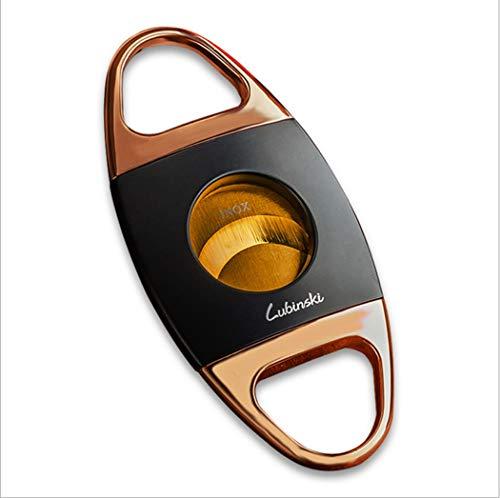 LHFJ Cigar Cutter Edelstahl Double Cut Blade mit Geschenkbox-Schwarz, Gold (Farbe : Gold, Größe : 94 * 45MM) -