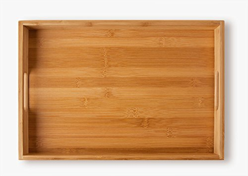 Bandeja de de bambú , para servir comidas (40 x 28 x 4,5 cm, 580 g) - 2