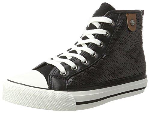 Fritzi Aus Preussen Damen Hanna Toe Cap Sneaker Sequin Hohe, Schwarz (Black), 38 EU (Toe-high-top-schuh)