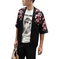 Hombres Vintage Kimono Harajuku Cabo Abrigo Japonés Cardigan Camisa Haori 3/4 Manga Negro M