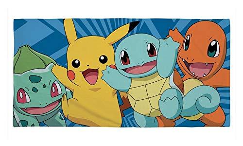 Pokemon - Badetuch - Bisasam - Pikachu - Schiggy - Glumanda - 150 x 75 cm (Kind Pokemon Ash Kostüme)