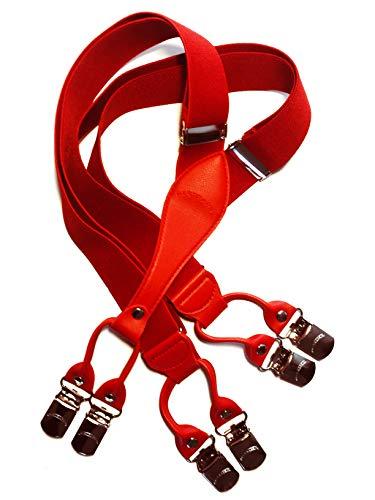 BESTRAPS - Vintage Herren-Zahnspange, 6-Zangen-Modell, fest, stilvoll, 3,5 cm, breite Clips, einstellbare Größe, (Rot) -