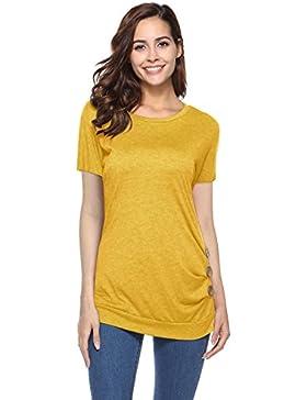Mujer Camiseta Tops de Manga Corta Blusa Túnica Verano Casual Ropa Tamaño Grande con Botón