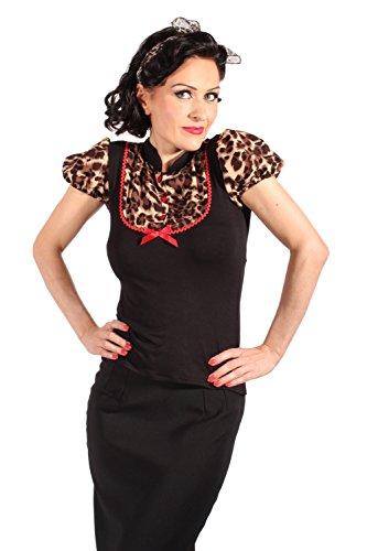 Retro Puffärmel Leoparden pin up Rockabilly Leo Bluse T-Shirt schwarz L - 6