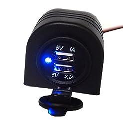 linchview presa accendisigari 3.1 a LED blu con mantello guscio incasso USB Caricatore Impermeabile Adattatore adatto per motocicli, camper RV, yacht per cellulare, tablet, navigatori, GPS