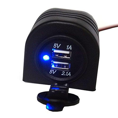 Linchview Zigarettenanzünder 3.1A blau LED mit Umhang Schale Einbau USB Ladegerät Wasserdicht Adapter geeignet für Motorräder, Wohnmobile RV, yacht für Telefon, Tablet, Navi, GPS, Walkie-Talkie-Gerät
