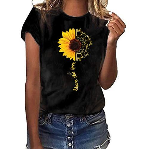 Kviklo Deman Plus Size T-Shirt Top Viele stilvolle Sonnenblumen Liebe Druck Kurzarm Summer Fashion Bluse(M(38),Schwarz-Liebesgeste) -