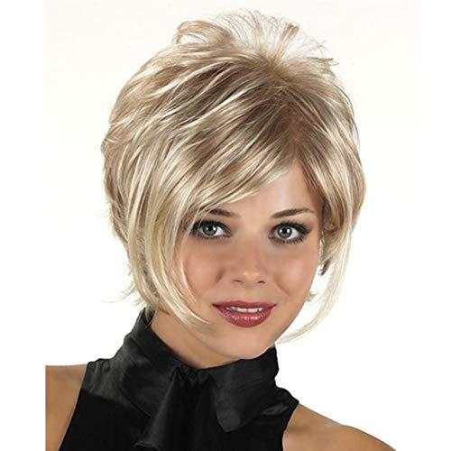 YUI Blond Mischen Braun Farbe Kurz Natur Gelockt Voll Perücken mit Pony Synthetik Hitze Beständig Haar zum Frau 180g, Gold