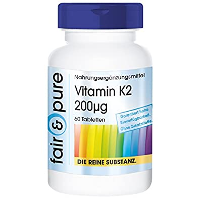 Vitamin K2 200mcg (Menaquinone MK-7) - In Pure Form - No Additives & Excipients - 60 Vegetarian Tablets from fair & pure