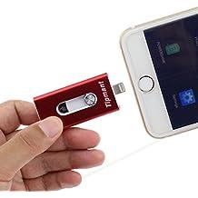Escomdp iPhone Lighting Memoria USB Jump Thumb Drive Tarjeta de Memoria PenDrive para Computadora, iPhone Apple IOS y Teléfonos Inteligentes Android (32GB, Rojo)