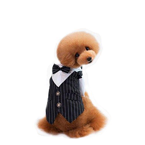 wuayi Pet Hochzeit Hund Puppy gestreift Shirt Anzug Bräutigam Gentleman Anzug Fliege Reinigungstuch