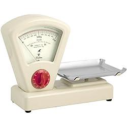 Habi 8233802 Bilancia Cucina Meccanico con Timer, 1 kg, Metallo, Avorio