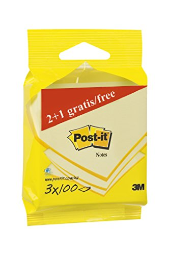 Post-it 6823p Notes – Notas adhesivas (3 bloques de 100 hojas, 76 x 76 mm), color amarillo