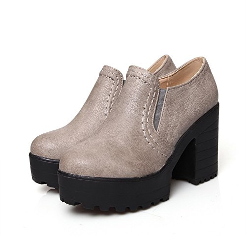 AllhqFashion Femme Pu Cuir à Talon Haut Rond Couleur Unie Tire Chaussures Légeres Gris