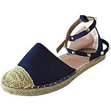 Minetom Sandalias Mujeres Bohemia Verano Moda Planas Zapatos Gamuza Lace Up Casual Sandalias Tobillo Correa Señoras