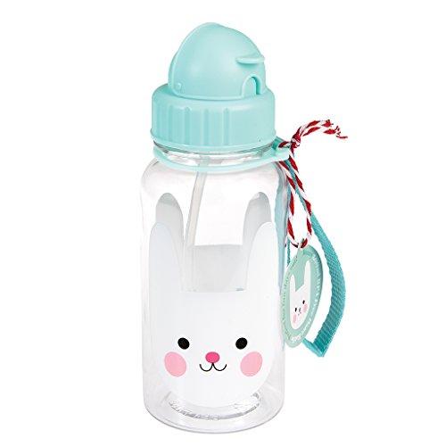 Trinkflasche für Kinder Wasserflasche Kindertrinkflasche mit Strohhalm Hase Bunny Häschen türkis