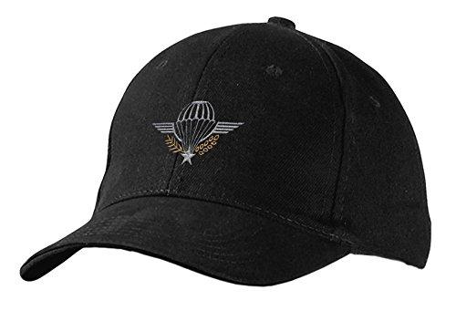 Preisvergleich Produktbild Baseballcap mit Stick - Emblem Abzeichen Military Fallschirm - 68451 schwarz - Cap Kappe Baumwollcap