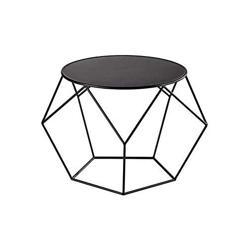 Z-BG Runder Couchtisch aus Eisen, Nachttisch, Nordischer Stil, Schwarz und Weiß, 50Cm * 50Cm * 44Cm, Schwarz (Nachttisch Eisen Runde)