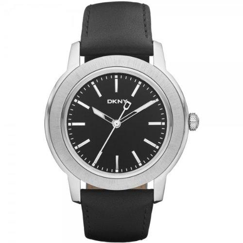 DKNY Gents Fashion Black Leather Strap Watch NY1504