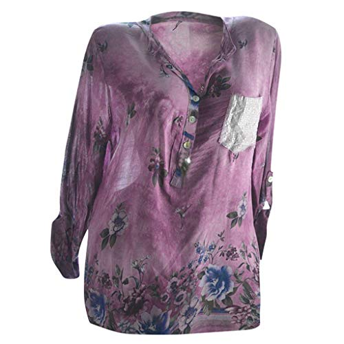 Fannyfuny Longshirt Hemd Damen Polo Shirt mit Knopfleiste Frauen Langarm Blumendruck t-Shirt Blusen Casual Lose Plus Size Longsleeve Tuniken mit Brusttasch Braun, Blau, Hellblau, Grün S-XXXXXL