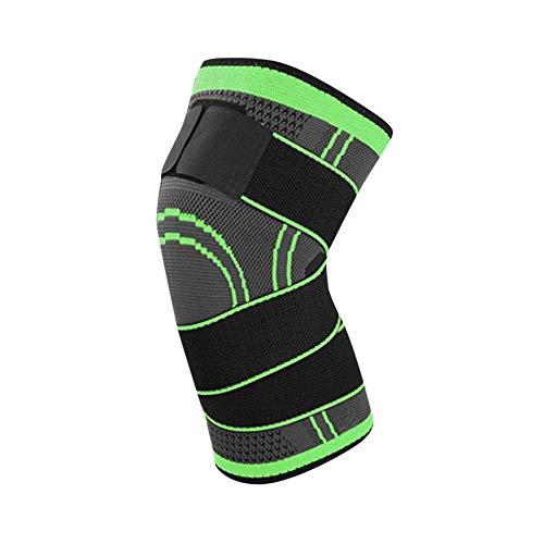 CHOULI Pressurized Fitness Bandage Knee Support Brace Sports Compression Pad Sleeve Green L