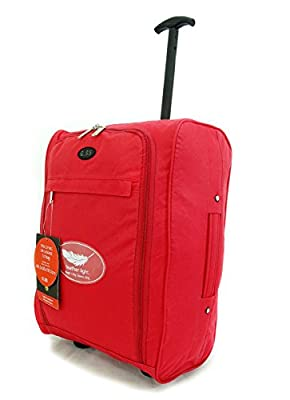 Super Lightweight Cabin Approved Luggage Travel Wheelie Bag suitcase Trolley Cabin Approved Case 50x40x20 Easyjet Ryanair (Red)