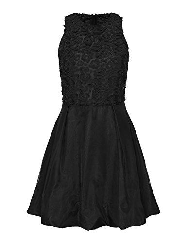 APART Fashion Glamour: Black-Cream: Lace-For-Grace, Vestito Donna Nero (schwarz schwarz)