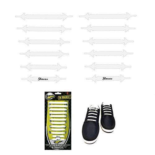 Slaces The Original Glatte Oberfläche • WEISS • Unisex Slip-On Silikon-Schnürsenkel • Versand aus Deutschland