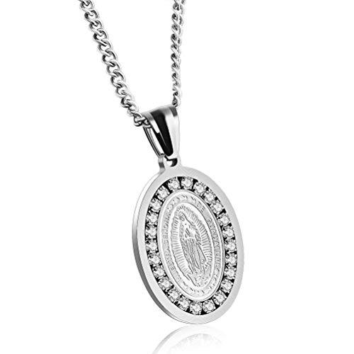 MingXinJia Zubehör Markt Religion Guadalupe Unsere Dame Euro Münze Diamant Halskette Geschenke, Stehlen