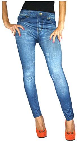 Thermo Fleece Leggings in Jeans Loock Optik Super Stretch Weich Warm (Blau)