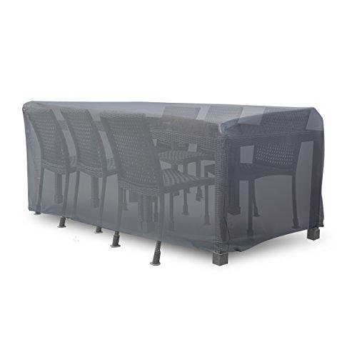 Krollmann Schutzhülle für Sitzgruppe, eckige Abdeckung für Gartenmöbel in Grau aus Polyester, Abdeckplane Maße: ca. 250 cm x 150 cm x 100 cm für Gartengarnitur Outdoor
