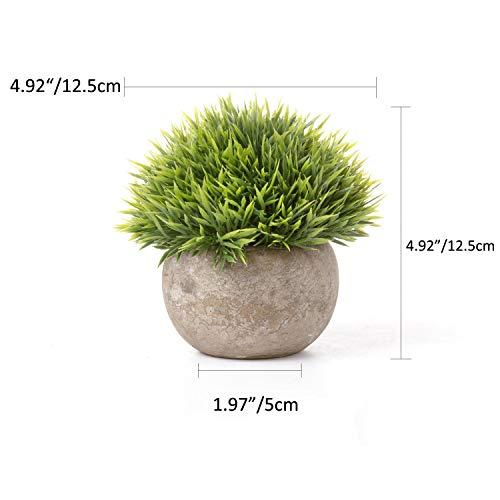 T4U Künstliche Grün Gras Bonsai Kunstpflanze mit grauen Topf, für Hochzeit/Büro/Zuhause Dekoration – 3er Set - 4