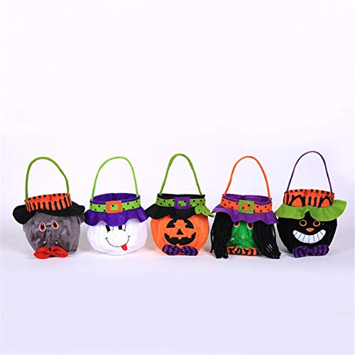 (VJUKUB Halloween Portable Fabric Bag Ghost Festival Kinder Dekoration Requisiten Spielzeug Anzieh Zubehör Kürbis Tasche Geschenktüte Candy Bag Prop Bag 5 Pack)