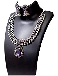 Anigalan - Stone Choker Oxidized German Silver Necklace With Jhumki For Women And Girls