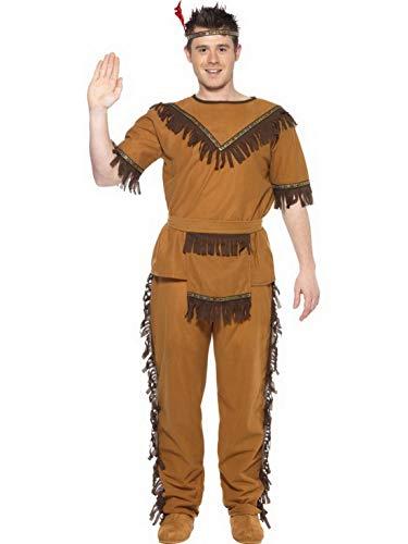 Luxuspiraten - Herren Männer Ureinwohner Indianer Kostüm mit Oberteil, Hose, Gürtel und Strinband, perfekt für Karneval, Fasching und Fastnacht, L, ()