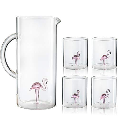 Flamingo fenicottero Krug und Gläser Set-Der Wein Savant, Zylindrische Gläser mit einer passenden Rosa Schwarz und Weiß Details.