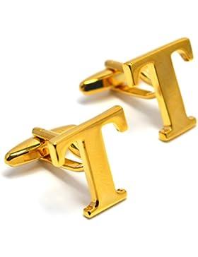 MESE London Buchstaben Alphabet Buchstaben Manschettenknöpfe Initiale - Buchstabe T Goldene - Elegante Geschenkbox