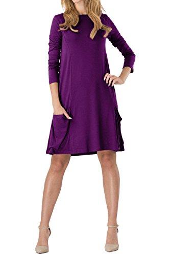 YMING Damen Langarm Kleid Lose T-Shirt Kleid Rundhals Casual Tunika mit Taschen Midi Kleid,Violett,L / DE 40-42 (Violett Seiden-baumwoll-kleid)