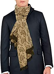 Remo Sartori Made in Italy Men's Winter Oversize Fringed Scarf Stole, 50% Wool 50% Cash