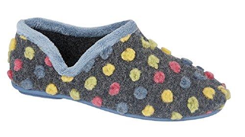 Sleepers Dora-Pantofole da donna in giada a pois, colore: blu Blu (blu)