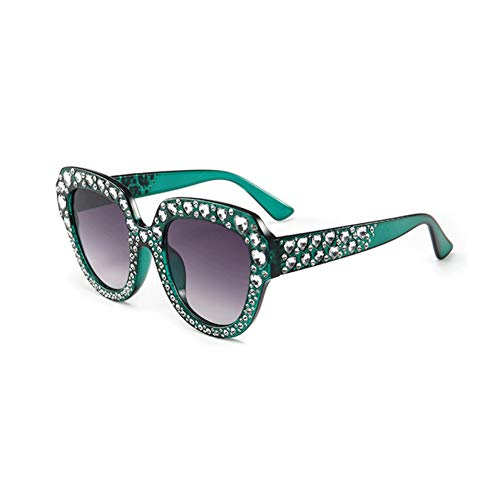 Siwen New Heart-Shaped Crystal Damen Sonnenbrille Übergroße Sonnenbrille Uv400,Grün Grau