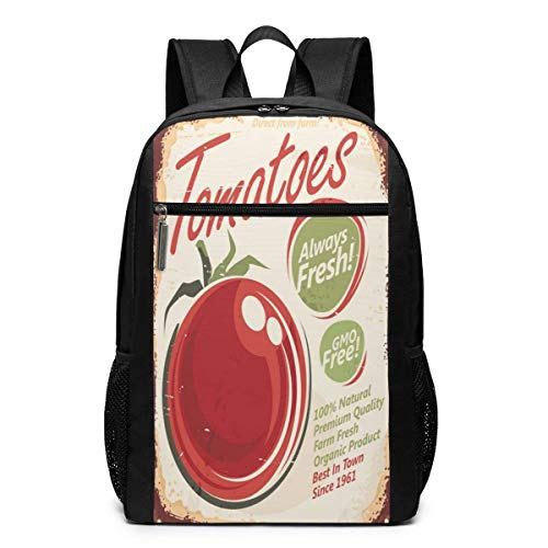 TRFashion Rucksack Retro Metal Sign Tomato Sign Unisex Laptop BackpackBusiness Travel Computer Bag Backpack Classic Lightweight Resistant Backpack 17 Inch Schoolbag Book Bag for Men Women Black -