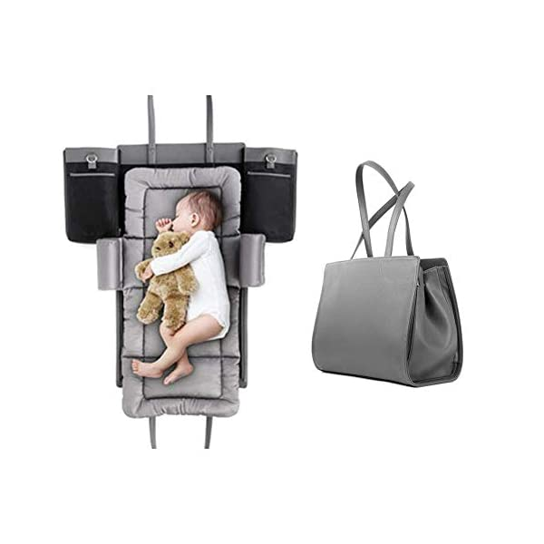 YANGGUANGBAOBEI Baby Lounger,Infant Toddler Cradle Multifunction Storage Bag, Nursery Travel Folding Baby Bed Bag YANGGUANGBAOBEI 1. Stylish and functional.Moms can have it all - a portable bassinet,a convenient portable changing station, a bag for all of baby's essentials, and chic, effortless style every day.It is the diaper bag and changing station rolled into one stylish tote 2.Moms no longer have to choose the ugly diaper bags,diaper bags can also be stylish,chic.The tote also has expention button and stroller straps.Waterproof leather and 100% cotton changing pad. 3. Roomy insert organizer.The cotton 100% Insert organizer is designed with optimal storage space for all your baby essentials,Big capacity as a diaper bag.It is also with 2 hanging bottons can be easily hong to stroller or baby bed. 1