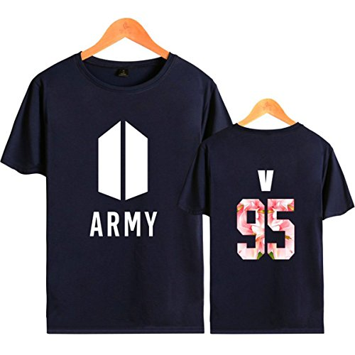 SIMYJOY Lovers Army Bangtan Boys BTS Fans Maglietta Cool KPOP Hip Pop Top per Uomo Donna Teen blu 95 v