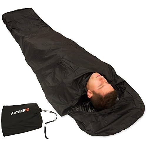 41YcWjjJHFL. SS500  - Adtrek Camping/Fishing Waterproof Sleeping Bag Bivvy Bag Cover 290T With Zip, 235cm x 85cm