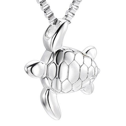 Fantasyland Jewelry Tortuga de mar colgante de acero inoxidable cremación urna recuerdo conmemorativo para cenizas collar