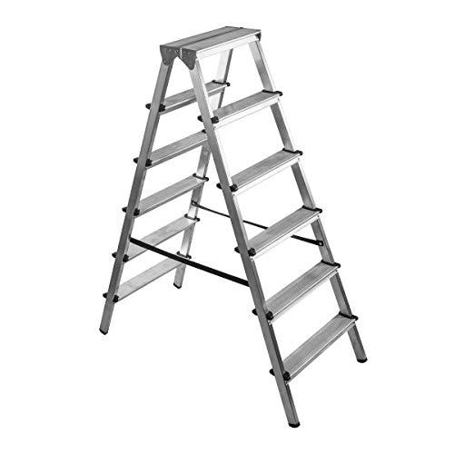 BRIKS Aluminium Leiter BR2060, Stehleiter Zweiseitig 2x6, belastbar bis 150 kg, Silber