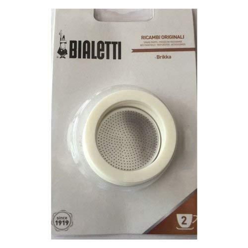 Bialetti 0800013 Blister 3 Joints et Filtre avec 2 Tasses, Silicone, Blanc, 6.5 x 6.5 x 0,3 cm