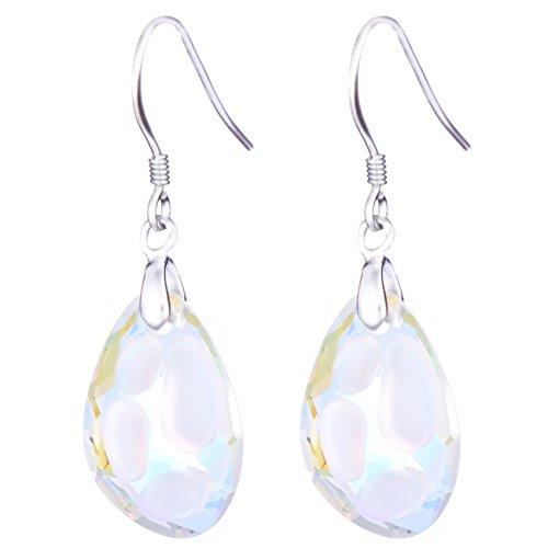 Sterling silver orecchini di goccia con swarovski® aurora borealis cristalli - ideale regalo per le donne e le ragazze - viene fornito con confezione regalo di lusso